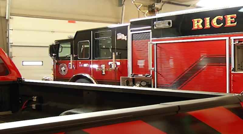 Rice Lake Firefighters Riding Around in New Fire Truck